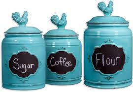 blue kitchen canister set ceramic blue set of 3 rooster chalkboard canisters kitchen