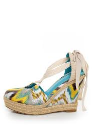 ribbon wedges bamboo dorine 03 teal ikat ankle ribbon espadrille wedges 36 00