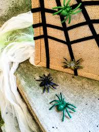 easy no sew sticky spiderweb diy halloween treat bag merriment