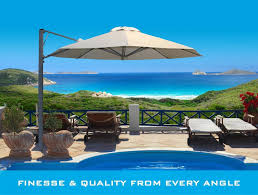 Cantilever Patio Umbrellas by Furniture Wheat Cantilever Umbrella Plus Sofa Set On Patio Plus