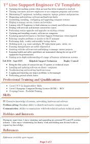 1st line support cv template tips and download cv plaza
