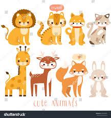 big set cute cartoon animals illustration stock vector 402604906