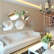 mirrored home decor removable acrylic hexagon mirror home decoration wall stickers view