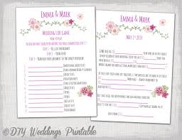 wedding mad lib template wedding mad libs template pink wedding libs printable guest card