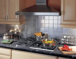 Kitchen With Stainless Steel Backsplash Stainless Steel Backsplash With Shelf Dark Metal Stove Big