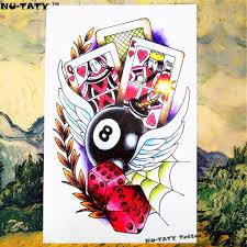 tattoo home decor nu taty lucky gambler temporary tattoo body art flash tattoo