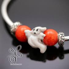 bella fascini halloween boo ghost enamel silver charm bead fit pandora