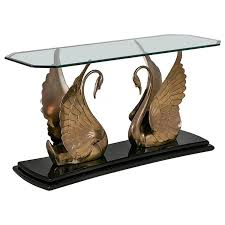 brass swan coffee table jet black lacquer and brass swan console table 1970s for sale at