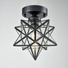Moravian Star Ceiling Mount by Axiland Industrial Moravian Star Ceiling Light With 8 Inch Glass