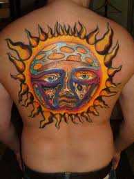 colored sun on back