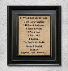 15th anniversary gifts burlap print 15th anniversary gift 15 year by burlapartprint