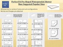 fit pre sloped waterproof shower base maximum dimensions