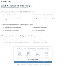 quiz u0026 worksheet 45 45 90 triangles study com