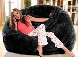 2018 oversized bean bags long fur black beanbag lounger soft and