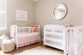 side by side gray nursery cribs for twin boys transitional nursery