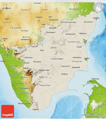 India Physical Map by Shaded Relief 3d Map Of Tamil Nadu Physical Outside