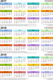 printable calendar year on one page 2017 2018 2019 calendar 4 three year printable pdf calendars