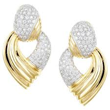 gold diamond earrings 14k yellow gold 1ct tdw diamond inside out hoop earrings h i i3