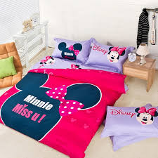 i miss you fashion minnie mouse red and purple kids bedding sets