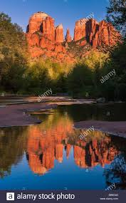 cathedral rock at sunset from oak creek in sedona arizona