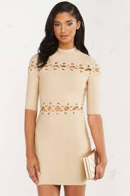 lace up detail bodycon dress in taupe