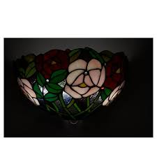 Glass Rose It U0027s Exciting Lighting Battery Powered Wall Sconce Stained Glass