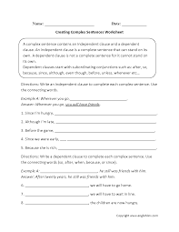 sentences worksheets complex sentences worksheets