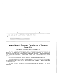 Power Of Attorney For A Child by Statutory Form Power Of Attorney Hawaii Free Download