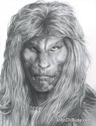 pencil drawing of ron perlman as vincent from tv u0027s u201cbeauty and the