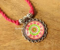 pink chain necklace images Pink flower pendant thread necklace at 1050 azilaa jpg