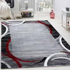 Wohnzimmer Teppiche Modern Wohnzimmer Teppich Bordüre Kurzflor Meliert Modern Hochwertig Grau