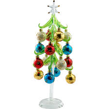 ls arts 12 inch green glass tree with 12 ornaments