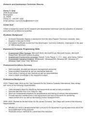 sample research and development technician resume medical lab