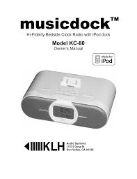 klh musicdock kc 80 user manual 16 pages