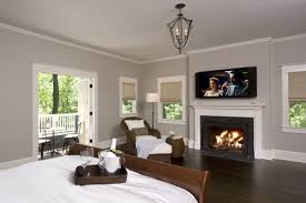 Traditional Bedroom Colors - grey wall theme and wood bed furniture sets in modern bedroom