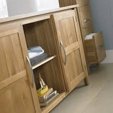Solid Wood Bathroom Cabinet Solid Oak Double Basin Bathroom Cabinet With Tap Waste