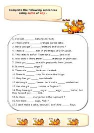 some and any worksheet pinterest worksheets english
