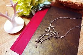 antique silver statement bib necklace twig tree branch