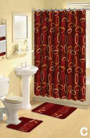 Bathroom Rug And Shower Curtain Sets Shower Curtains 17 Pcs Set Contemporary Bath Mat Contour Rug Hooks