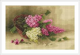 artgoblen counted cross stitch kit basket with lilac