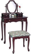 2 Piece Vanity Set Coaster 3441 Cherry Wood Vanity Set With Mirror Fabric Seat Stool