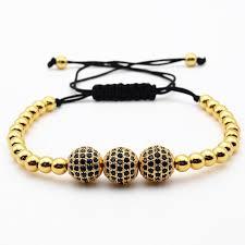 macrame bracelet with beads images 10mm micro pave black cz beads briading macrame bracelet jpg