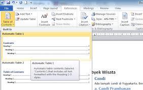 membuat daftar isi table of contents di word 2007 cara mudah membuat daftar isi atau table of contents dengan
