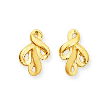 design of earrings light weight jewellery gold ridged design earring grt