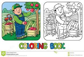 funy farmer or gardener with apples coloring book stock vector