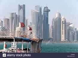 Picture Of Qatar Flag Qatari Flags Flap On A Dhow Boat In The Arabian Gulf With The