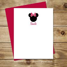 Invitation Note Cards Personalized Minnie Mouse Note Cards By Paper Nook Paper Nook