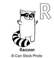 clip art vector of raccoon coloring page image cute raccoon on a