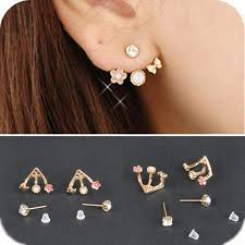 korean earings pair fashion korean style rhinestone lovely flower earrings stud