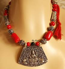 coral beads necklace images Red coral beads necklace set antique silver laxmi pendant set at jpg